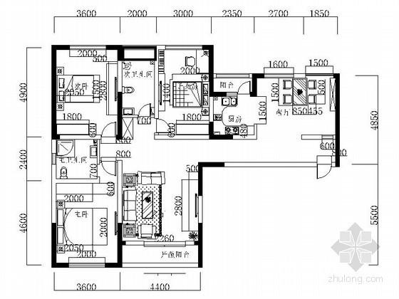 某小区三室二厅室内装修图