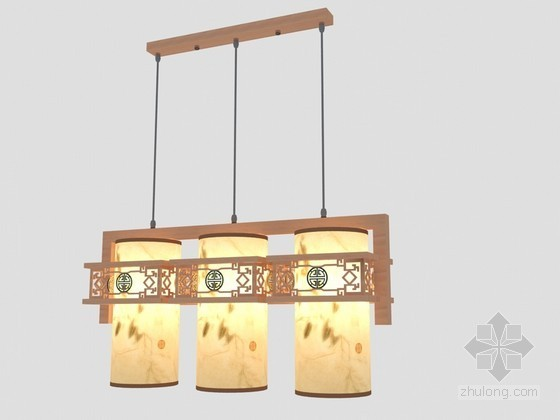 成套中式吊灯3D模型下载