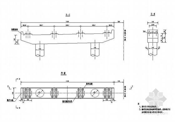 先簡支后連續箱梁橋墩臨時支座構造節點詳圖設計圖片