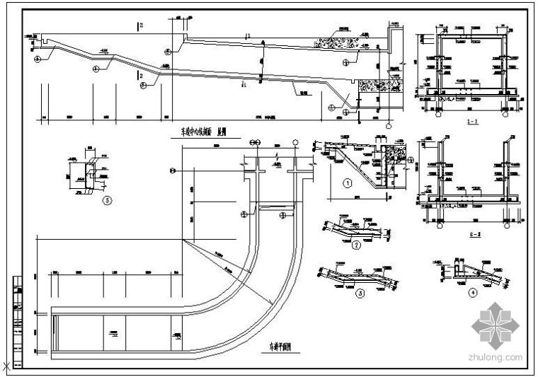 某车道中心线剖面配筋节点构造详图