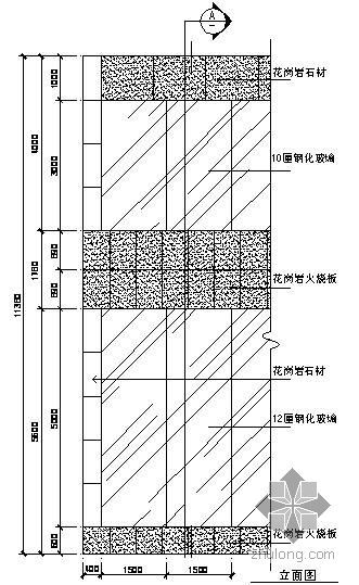 某吊挂式玻璃幕墙节点构造详图(十一)(立面图)