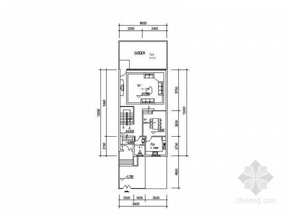 某三层坡地联排别墅户型图(含半地下室)