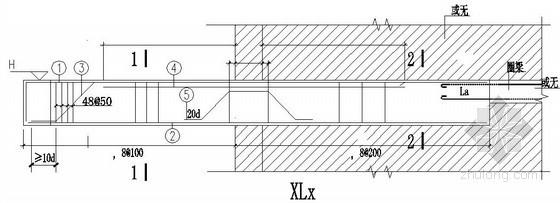 框架悬挑梁配筋节点构造详图