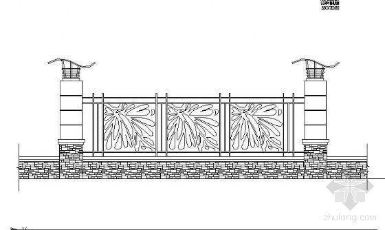某铁艺栏杆围墙详图