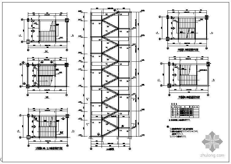 某钢结构三跑楼梯节点构造详图