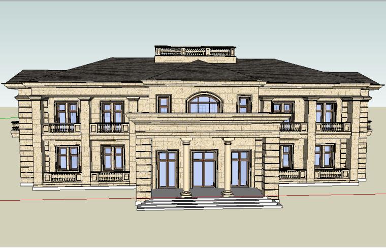 新古典会所建筑SU模型设计