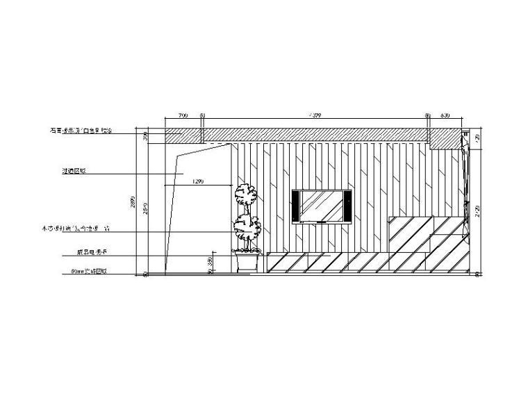现代风格二居室样板房设计CAD施工图(含效果图)_3