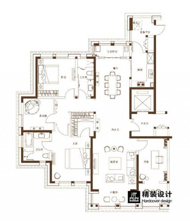 海马壹号公馆199平四室两厅现代简约装修效果图