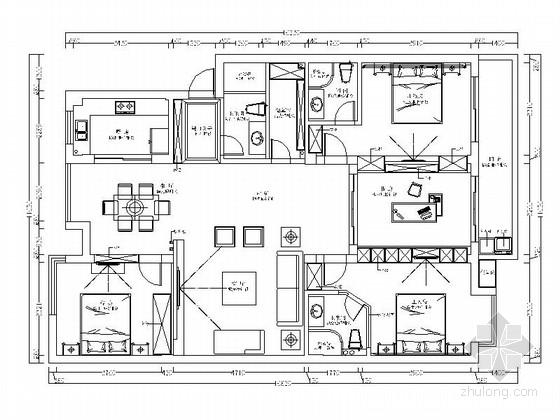 [原创]温馨舒适三居室家装CAD施工图(含效果图)