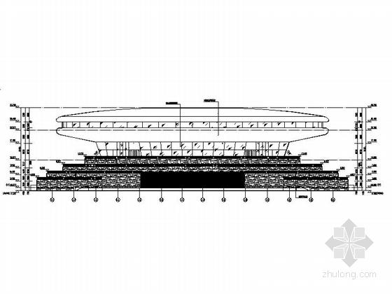 圆形高层文化演艺中心建筑设计立面图