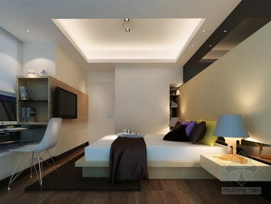 自然现代风格两居室样板房装修图(含效果)卧室效果图