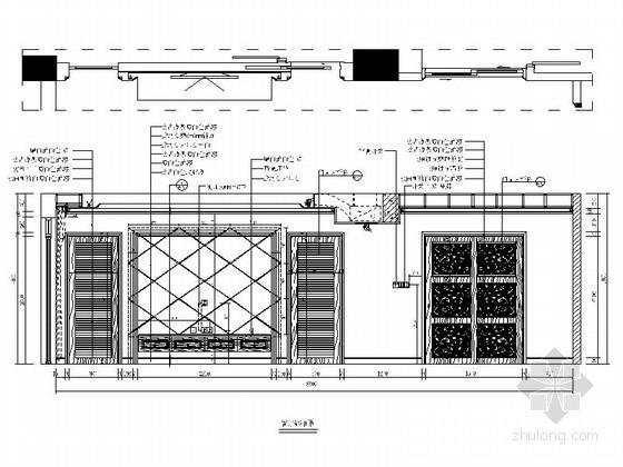 [广东]独特简欧风格四居室样板间装修施工图(含效果及实景)客厅立面图