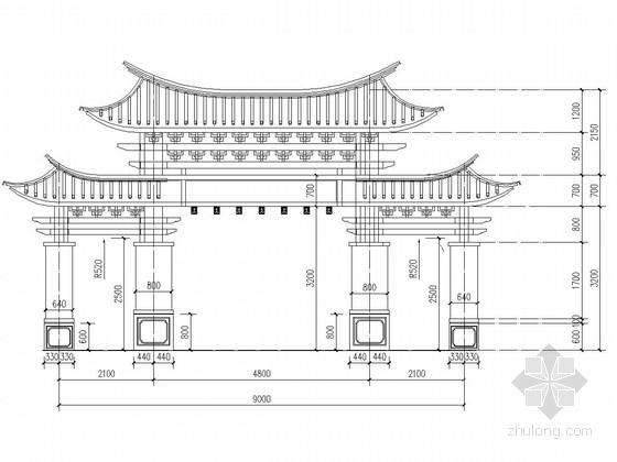 钢框架解耦冲天式牌楼类型仿古建筑牌坊施工图(含建筑)