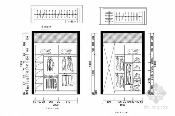 花园式住宅区欧式风格三层别墅装修图(含效果图) 衣柜立面图