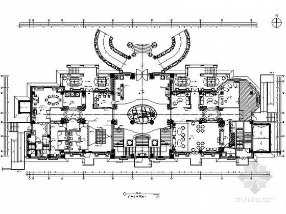 [天津]欧式奢华风售楼处室内装修CAD施工图(含方案)