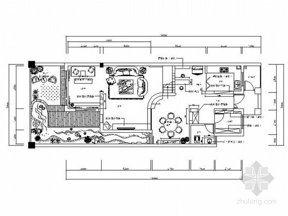 [广西]简约中式风格三层别墅室内装修设计施工图(含效果)
