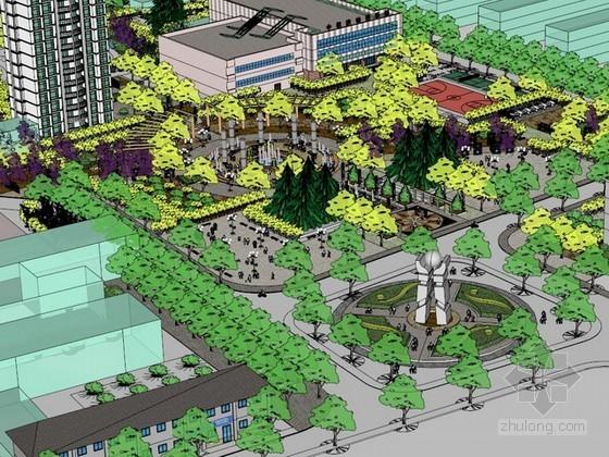 广场设计sketchup模型