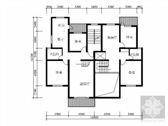 塔式高层复式四室二厅户型图(173)