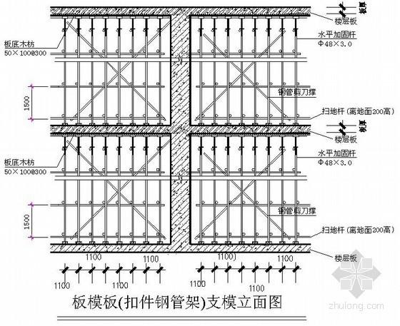 住宅楼楼板、梁模板支撑示意图(钢管脚手架)