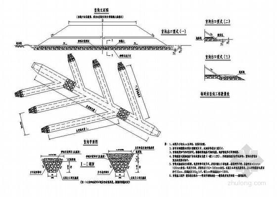 高速公路路基路面排水工程鱼刺型盲沟节点详图设计