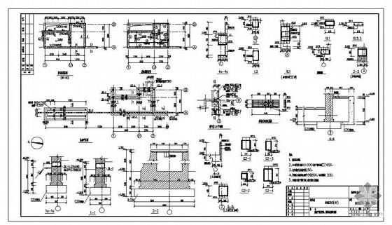 某城市污水处理厂传达室及大门结构图