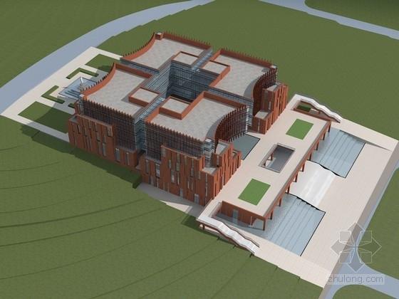 5层退台式书卷造型大学图书馆建筑设计方案文本