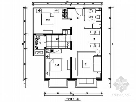 [北京]望京某高档公寓大楼Bb-1户型二居室装修图