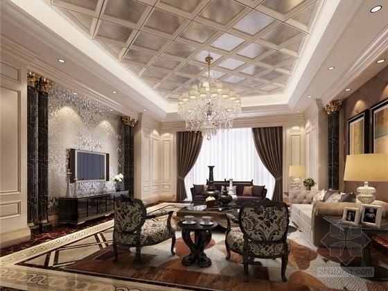 [山西]名师超大四居室古典住宅客厅效果图