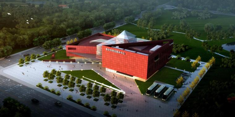 [四川]现代风格石材外墙科技展览馆重建建筑设计方案文本-现代风格石材外墙科技展览馆重建建筑效果图
