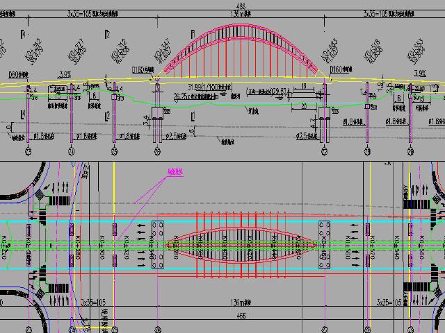 含136m下承式拱桥主桥连续箱梁引桥大桥工程设计图258张CAD