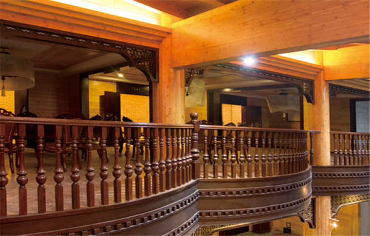 大型胶合梁柱木结构建筑工程-四川泸州老窑木结构品牌馆
