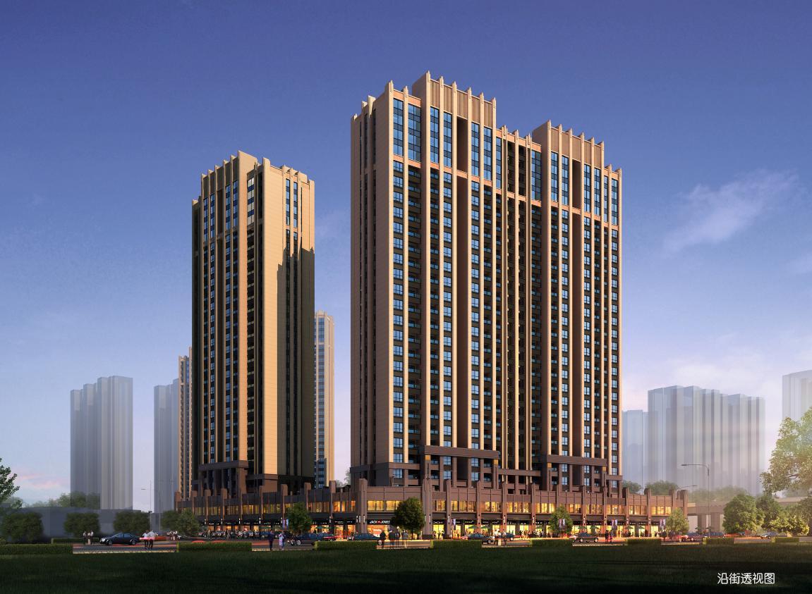 高层现代风格高耸造型塔式住宅楼建筑效果图图片