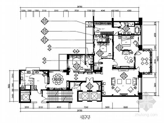 [福建]欧式顶级至尊三居室豪宅室内装修施工图(含效果)