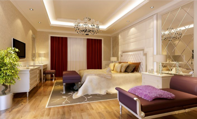 上千家(泉州)三层别墅室内设计施工图(含效果图)-主卧室效果图