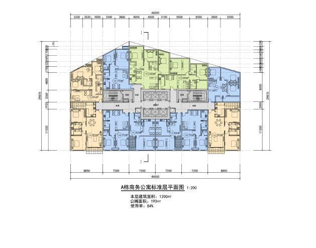 超高层独栋式散点商业办公综合体建筑平面图