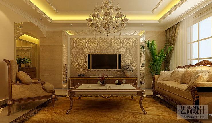 郑州中央花园118平三室两厅简欧风格案例装修效果图