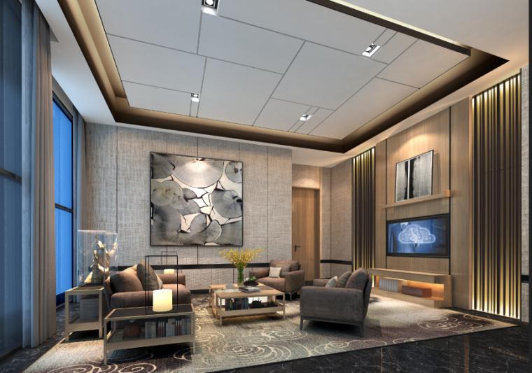 [重庆]现代风格售楼处概念方案设计施工图(附效果图+物料表)-商业空间效果图