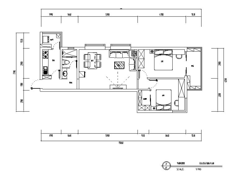 地中海风格二居室住宅设计施工图(附效果图+软装搭配)
