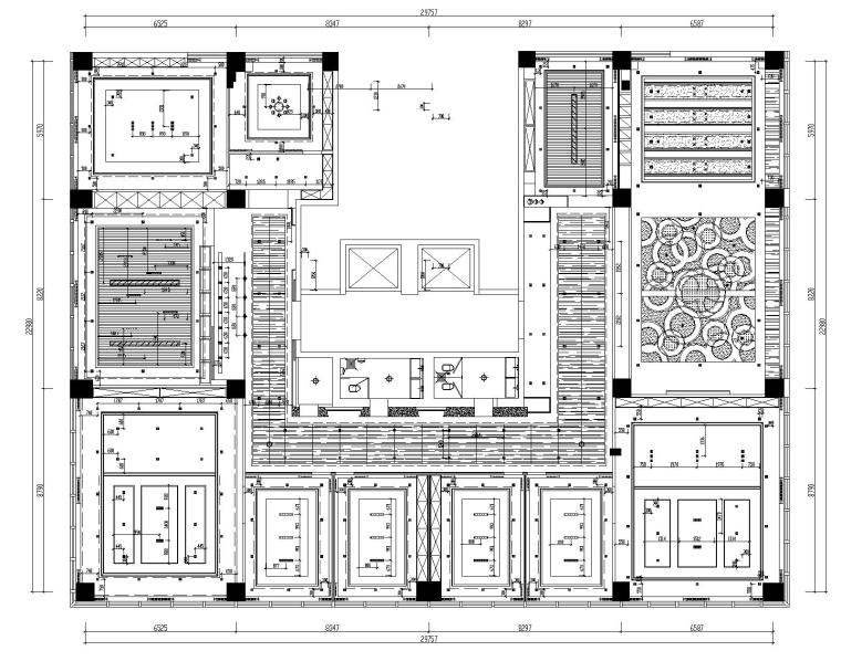 [山东]混搭--黄海城市花园七层办公平面装修施工图+效果图-天花平面布置图