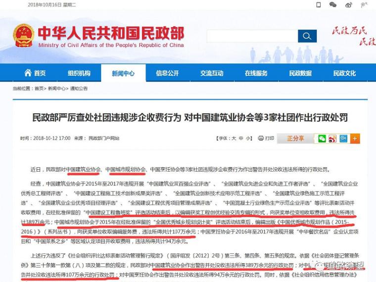 """""""中国建设工程鲁班奖""""评选变相收费!中国建筑协会等3家协会被罚"""