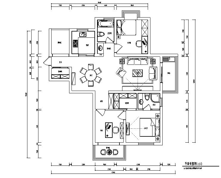 现代简约风蓝色淡雅三居室住宅设计施工图(附效果图)