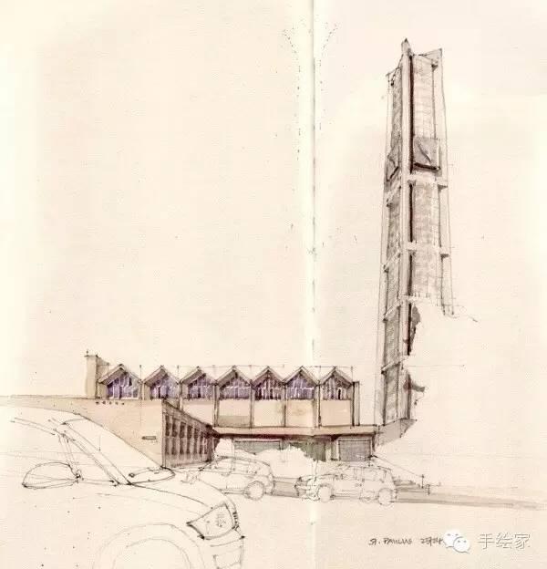 百年经典建筑设计手绘图_38