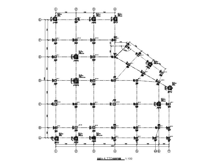 四层框架结构食堂全套施工图(建筑结构水电暖)-柱结构平面图