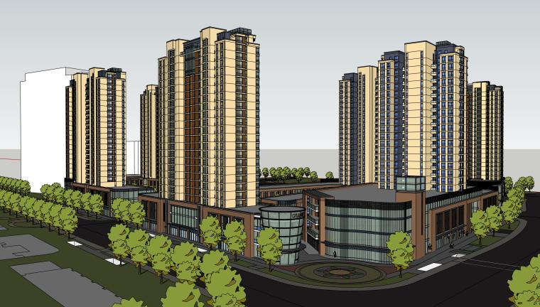 大型高层小区建筑设计模型