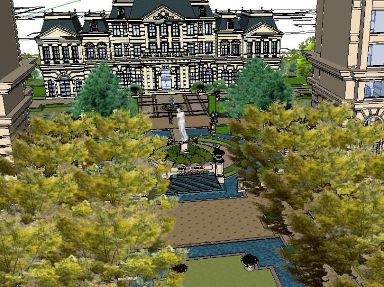[景观场景模型]法式小区居住区景观模型