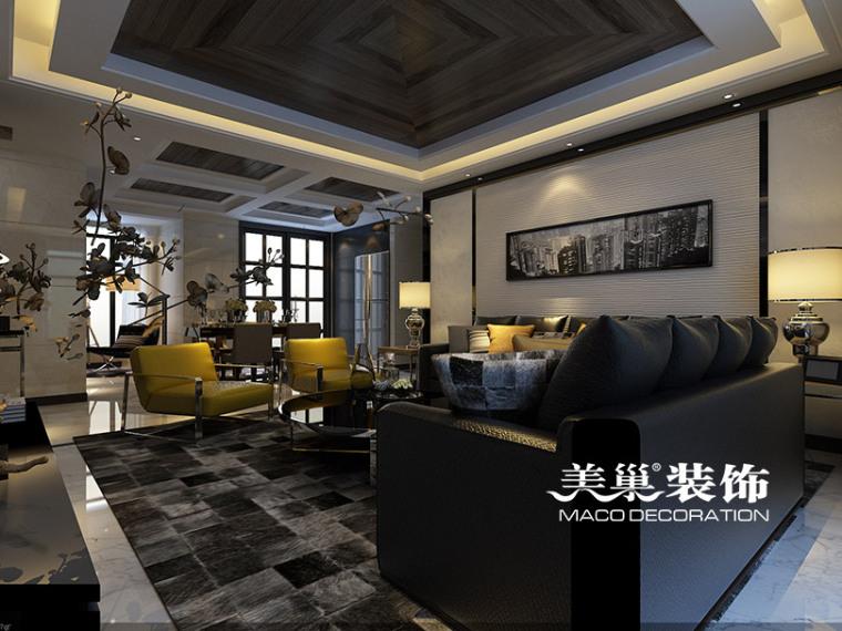 客厅-伟业中央公园125㎡平面设计装修效果图第1张图片