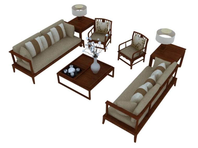 现代中式沙发3D模型下载