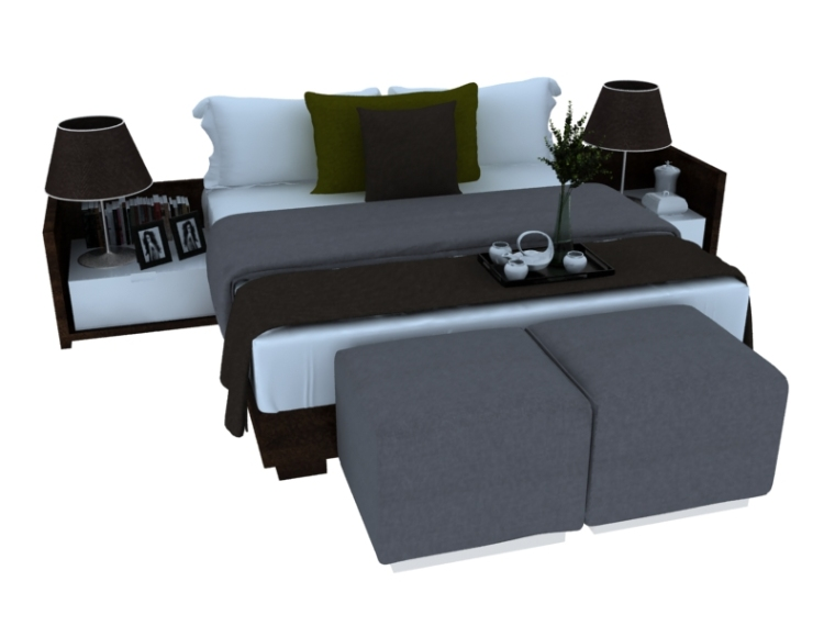 欧式大气双人床资料下载-舒适安逸双人床3D模型下载
