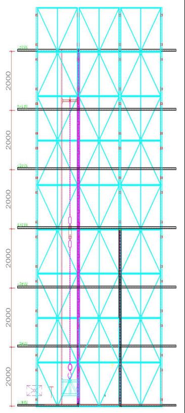 高层建筑全钢附着式升降脚手架(爬架)施工方案-全钢附着升降脚手架正立面和侧立面示意图