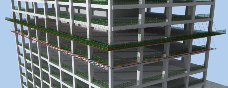 单元式幕墙工程施工组织设计-吊装轨道搭设示意图